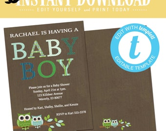Owl Baby Boy Shower Invitation, Coed twins sprinkle, Look Who's turning One Birthday, Printable editable templett | 123 Katiedid Designs