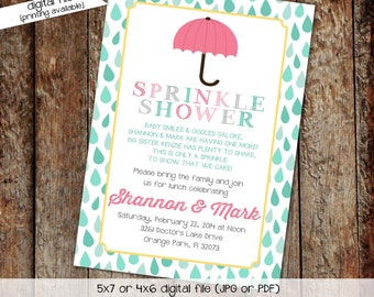 umbrella sprinkle invitation raindrops baby shower couples coed sip see twins brother sister love diaper wipes gender reveal | 1429 Katiedid