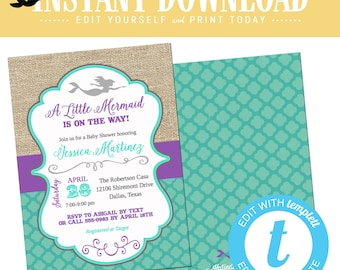 mermaid baby shower invitation couples Purple teal 1st birthday party little bridal burlap coed sip see sprinkle editable | 1365b Katiedid