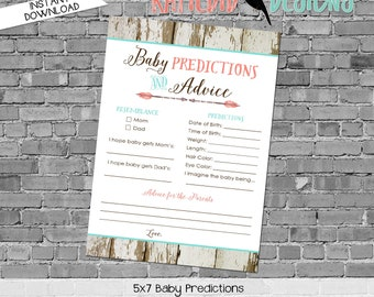 gender reveal party game co-ed baby shower diaper wipe brunch baby predictions stats mint coral boho tribal rustic 1382 katiedid designs
