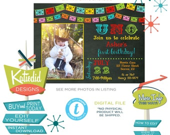 Fiesta Birthday Invitation with Photo Picture, Halloween Party Day of the Dead | 234 Katiedid Designs