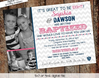 baptism invitation mormon great to be 8 eight LDS twins double photo announcement birthday brother sister pink navy   706 Katiedid Designs