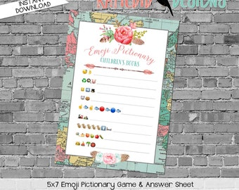 emoji pictionary children's books baby shower game Travel Theme adventure awaits oh the places boho arrows gender reveal pink | 370 Katiedid