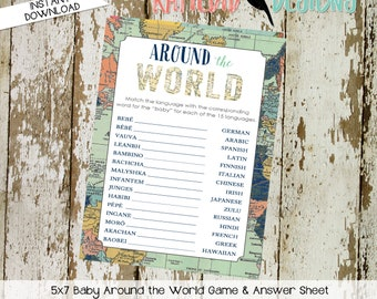 gender reveal party game around the world shower game Travel Themed oh the places you'll go Adventure Awaits world map 1466 Katiedid Designs
