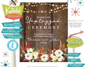Fall Wedding Sign, Unplugged Ceremony Sign, White Roses Autumn Leaves   005 Katiedid Designs