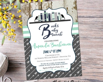 once upon a time baby shower invitation storybook gender reveal tribal arrows library card book theme rustic couples coed | 12121 Katiedid