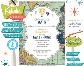 Adventure awaits twin baby shower invitation, templett invitation, wild one birthday boy | 1466 Katiedid Designs
