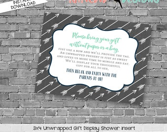 Display shower insert Unwrapped gift enclosure card Baby shower invitation gender neutral Rustic baby boy shower | 12120 katiedid designs