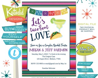 Cinco de Mayo Taco Bout Love Fiesta Invitation margarita stock the bar engagement party bridal shower | 305 Katiedid Designs