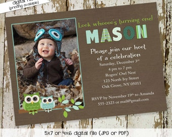 Owl birthday invitation baby shower ultrasound photo pregnancy announcement picture boy couples coed diaper wipes | 241 Katiedid Designs
