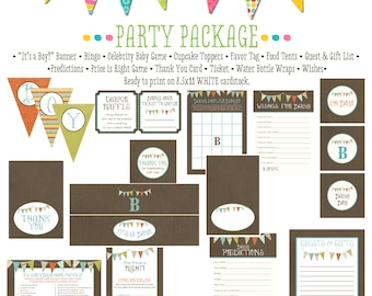 rustic baby boy shower b is for baby invite Kraft paper rustic chic bunting banner cupcake toppers co-ed baby shower 122 Katiedid Designs