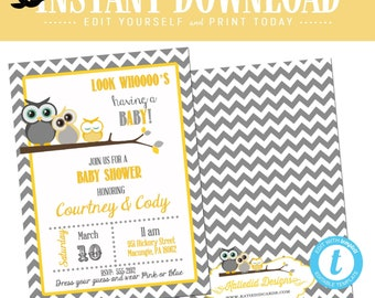 gender reveal invitation Owl baby shower neutral couples coed diaper wipes twins sprinkle l yellow gray editable | 1404 Katiedid Card