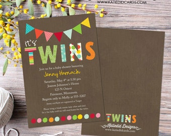 twins shower invitation kraft paper rustic chic diaper wipe brunch co-ed baby shower with love he or she gender reveal 1517 Katiedid Designs