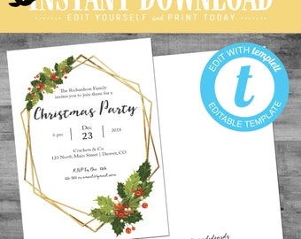 Christmas Party Invitations with mistletoe, winter theme rehearsal dinner gold geometric frame editable templett | 840 Katiedid