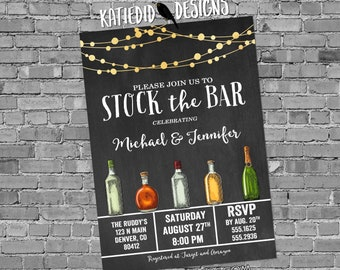 stock the bar rehearsal dinner invitation Couples Shower bridal bottle string light I do BBQ engagement party housewarming | 333 Katiedid
