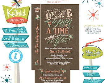storybook baby shower invitation Once upon a time floral girl twin couple coed diaper brunch happily ever after mint coral | 1379 Katiedid