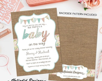 gender reveal invitation twins baby shower neutral couples coed pink or blue he she rustic burlap diaper wipes sprinkle see | 1437 Katiedid