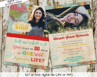 High School Graduation Announcement with Photo Picture, Oh the Places You'll Go Travel Theme, Commencement Invitation | 606 Katiedid