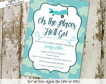 Adventure awaits baby shower invitation Vintage Airplane Travel Theme gender neutral sip see boy oh the places you'll go blue | 124 Katiedid