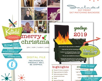 Year in Review Christmas Card, Funny Holiday Cards with Photos, Dumpster Fire of a Year   833 Katiedid Designs