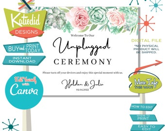 Unplugged Ceremony Sign, Wedding Sign with Sage Green and Pink Succulents | 002 Katiedid Designs