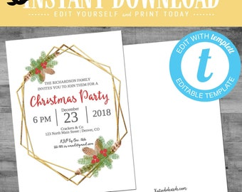 Christmas Party Invitations with mistletoe, winter theme rehearsal dinner gold geometric frame editable templett | 887 Katiedid