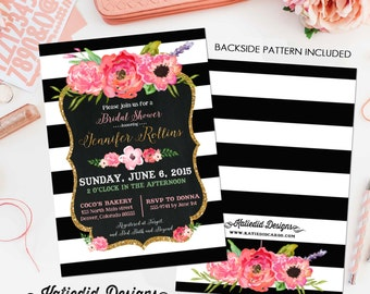 Baptism invitation Stock the bar Couples baby shower black white stripe coed sip see sprinkle gay LGBT floral boho | 363 Katiedid Designs