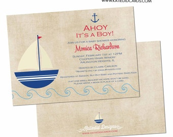 Nautical baby shower invitation Ahoy it's a boy Rustic boy sprinkle sip see baptism Sailboat Anchor diaper wipes brunch gay | 1251 Katiedid