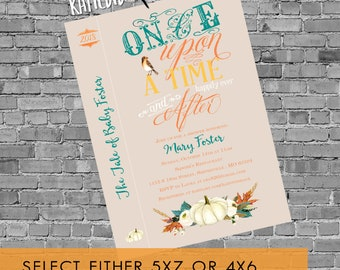 fall baby shower invitation pumpkin once upon a time storybook couples happily ever after stock bar rehearsal dinner leaves | 1379e Katiedid