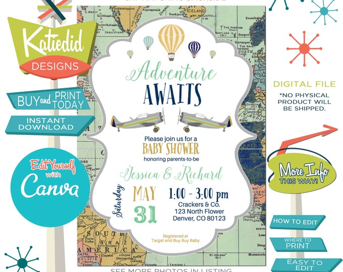 Featured listing image: Travel Theme Gender Neutral Baby Shower Invitation or Gender Reveal, Hot Air Balloon Travel Theme for ANY EVENT | 12131 Katiedid Designs