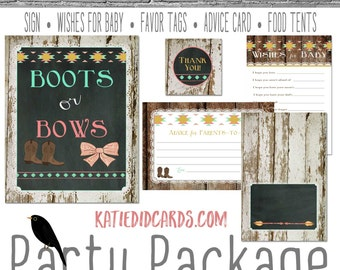 boots or bows boho baby shower tribal invitation tribal arrows gender reveal party game baby shower party package sign 1439 Katiedid Designs