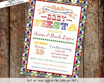 Fiesta baby shower invitation Fiesta gender reveal invitations Cinco de mayo baby shower Day of the dead party invitation | 1424 Katiedid