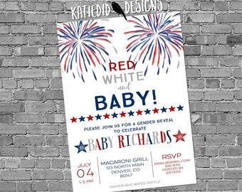 gender reveal invitation baby shower 4th of July couples coed American Patriotic diaper wipes BBQ picnic firecracker he she | 1478 Katiedid