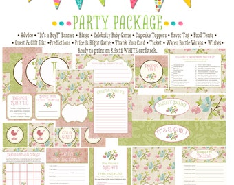 rustic baby girl floral chic invite shabby chic it's a girl baby shower party package gender reveal party game banner 1314 Katiedid Designs