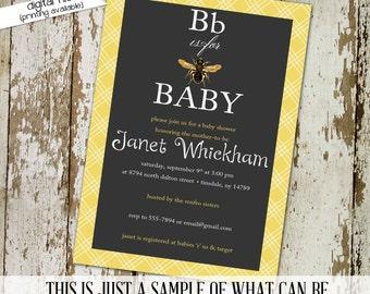 bee baby shower invitation gender reveal couples coed sprinkle sip see brunch diaper wipes twins chalkboard rustic | 1440 Katiedid Designs