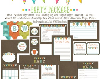 surprise gender reveal baby shower party package diaper wipe brunch baby romper invite bodysuit bunting banner jumper 1407 katiedid designs