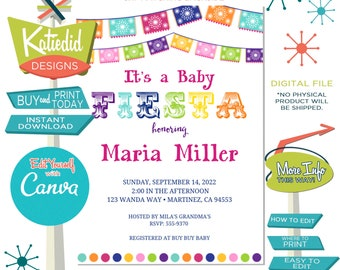 Fiesta Baby Shower Invitation, Taco Bout a Baby, Mexican Gender Reveal | 1401 Katiedid Designs