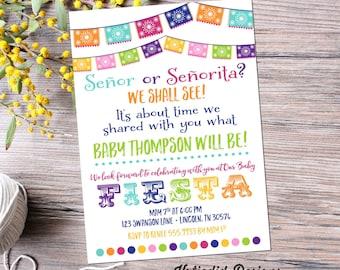 dia de los muertos Fiesta gender reveal invitation baby shower cinco de mayo sugar skull Papel Picado neutral twin rainbow | 1495 Katiedid