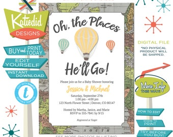 travel baby shower invitation hot air balloon adventure awaits oh places you'll go couple graduation theme birthday editable | 1243 Katiedid