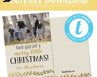 christmas cards with photo, gold foil holly ivy rustic family picture templett elegant | 867 Katiedid