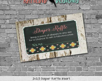 rustic baby girl shower invitation mint coral boho baby shower tribal arrow Diaper raffle ticket insert enclosure card 1439 Katiedid Designs