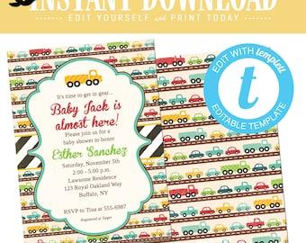 Baby Boy Shower Invitation with Cars, Twin Boys Birthday Party, Editable Invite Templett    238 Katiedid Designs