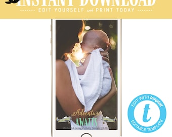Snapchat geofilter Tribal baby shower boy couple rustic coed diaper wipes brunch mint navy gray twin arrow sprinkle sip see | 12120 Katiedid