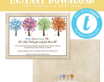 Seasons Bridal Shower invitation, Winter spring summer fall coed engagement party templett invitation   318 Katiedid Designs