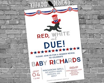 gender reveal invitation baby shower 4th of July couples coed American Patriotic diaper wipes BBQ picnic red white due | 1479b Katiedid card