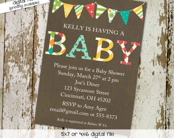 Gender reveal invitation neutral couples baby shower twins coed sip see sprinkle boy diaper wipes brunch double LGBT | 1215 Katiedid designs