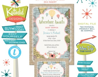 Adventure awaits gender reveal invitation Hot air balloon Travel theme baby shower oh places go neutral twin diaper editable | 1455 Katiedid