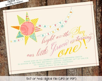 you are my sunshine birthday invitation brighter than the sun first communion baptism christening tea party little girl | 259 Katiedid cards