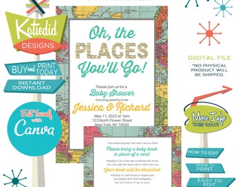 Baby Shower Invitation Gender Neutral, Adventure Awaits Travel Theme Party Retirement | 1294 Katiedid Designs