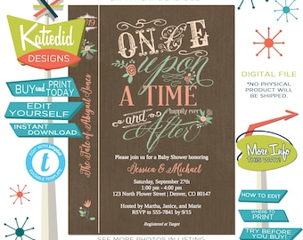 Once upon a time baby shower invitation storybook Rustic floral couples coed diaper wipes brunch happily ever after gender | 1379 Katiedid